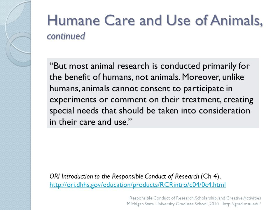 For More Information @ MSU Resources ◦ Institutional Animal Use and Care Committee http://www.iacuc.msu.edu http://www.iacuc.msu.edu ◦ Campus Animal Resources http://www.animalresources.msu.eduhttp://www.animalresources.msu.edu ◦ Office of Regulatory Affairs http://www.ora.msu.edu/ http://www.ora.msu.edu/ Questions may be directed to: ◦ The IACUC at 517-432-8103 ◦ Campus Animal Resources at 517-353-5064 ◦ Office of Regulatory Affairs at 517-432-4500 Responsible Conduct of Research, Scholarship, and Creative Activities Michigan State University Graduate School, 2010 http://grad.msu.edu/