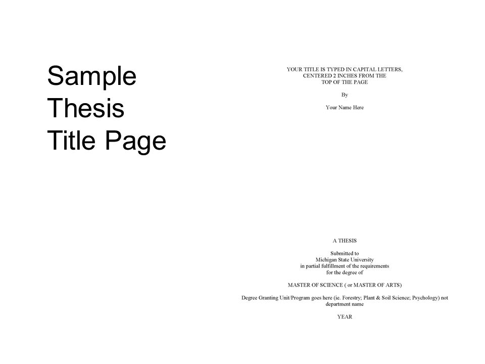 Sample Thesis Title Page