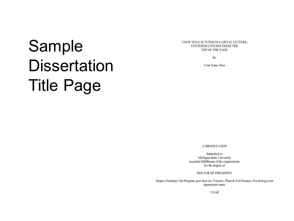 Sample Dissertation Title Page