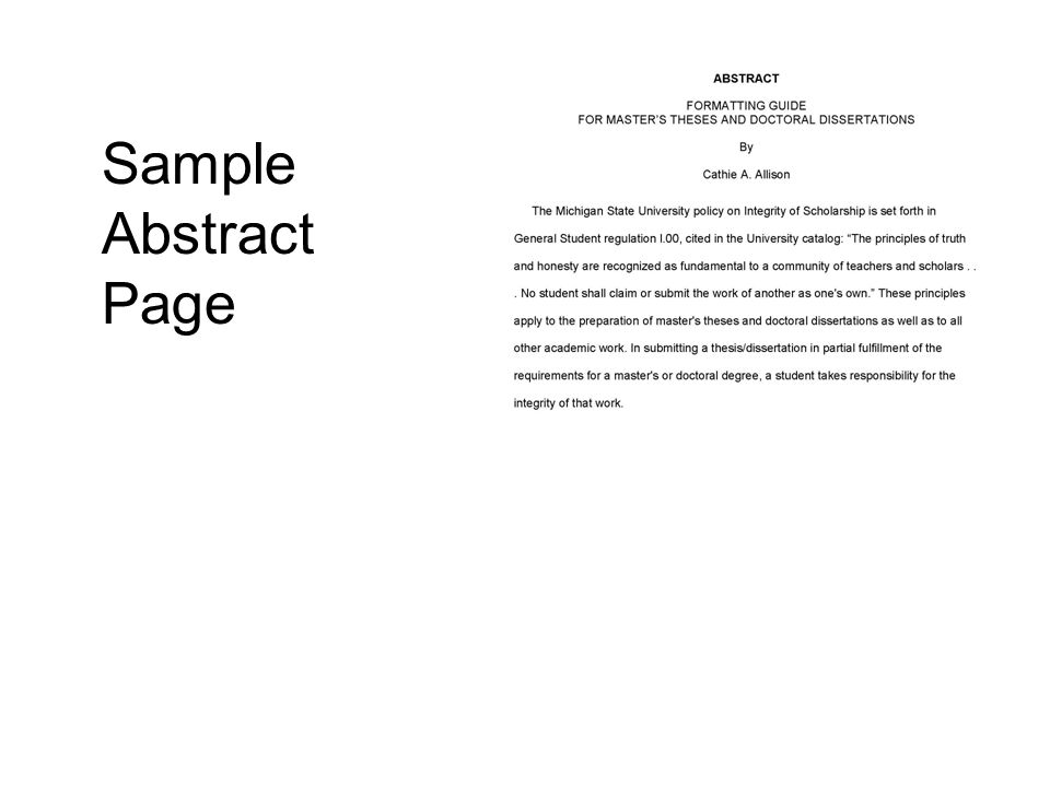 Sample Abstract Page