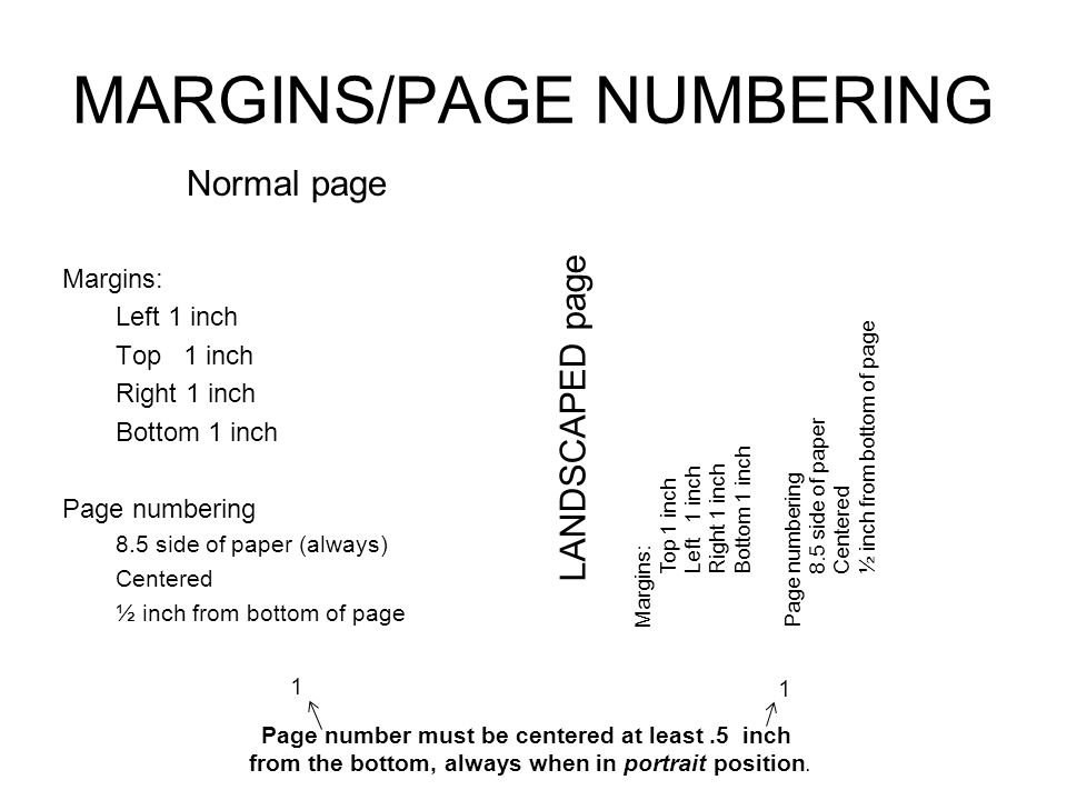 MARGINS/PAGE NUMBERING Normal page Margins: Left 1 inch Top 1 inch Right 1 inch Bottom 1 inch Page numbering 8.5 side of paper (always) Centered ½ inc