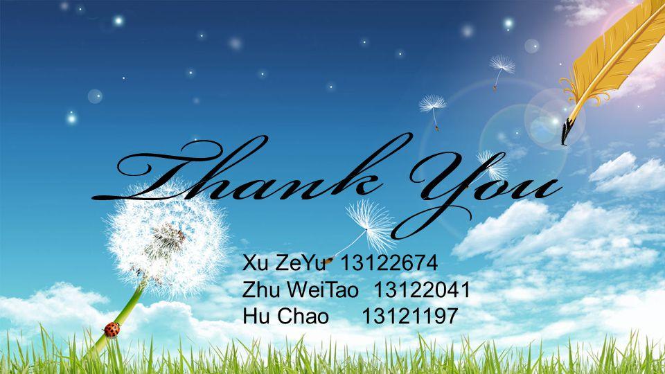 Xu ZeYu 13122674 Zhu WeiTao 13122041 Hu Chao 13121197