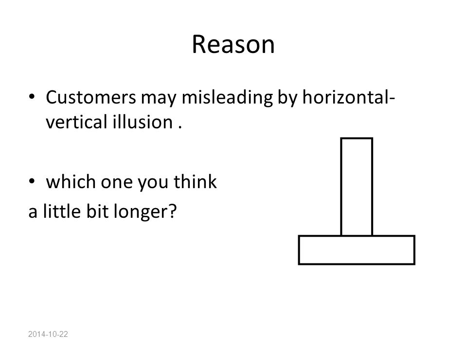 2014-10-22 Reason Customers may misleading by horizontal- vertical illusion. which one you think a little bit longer?