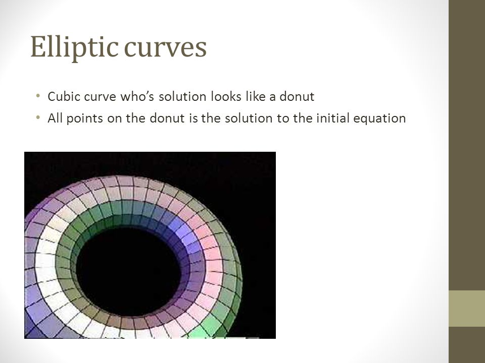 Elliptic curves Cubic curve who's solution looks like a donut All points on the donut is the solution to the initial equation