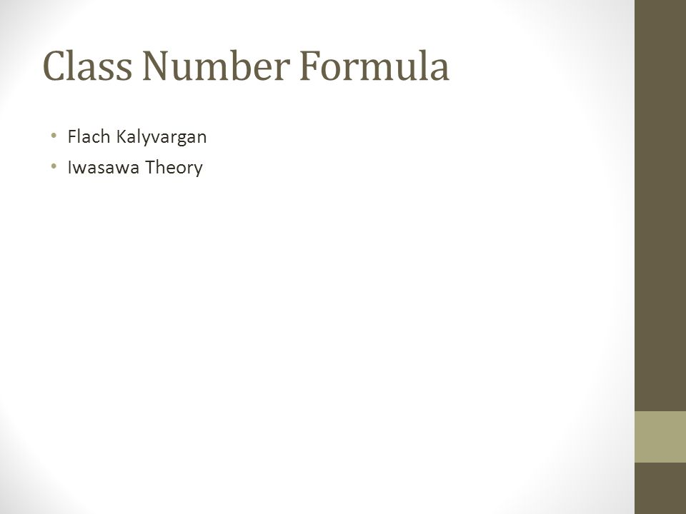 Class Number Formula Flach Kalyvargan Iwasawa Theory