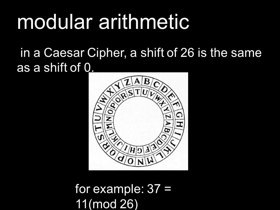 modular arithmetic in a Caesar Cipher, a shift of 26 is the same as a shift of 0.