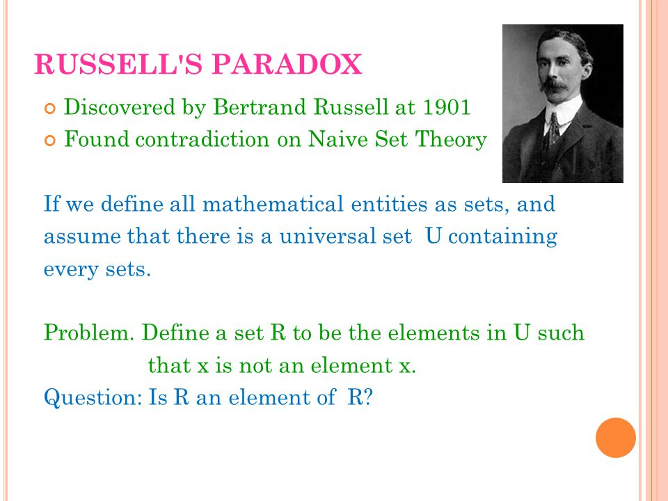 RUSSELL S PARADOX Discovered by Bertrand Russell at 1901 Found contradiction on Naive Set Theory If we define all mathematical entities as sets, and assume that there is a universal set U containing every sets.