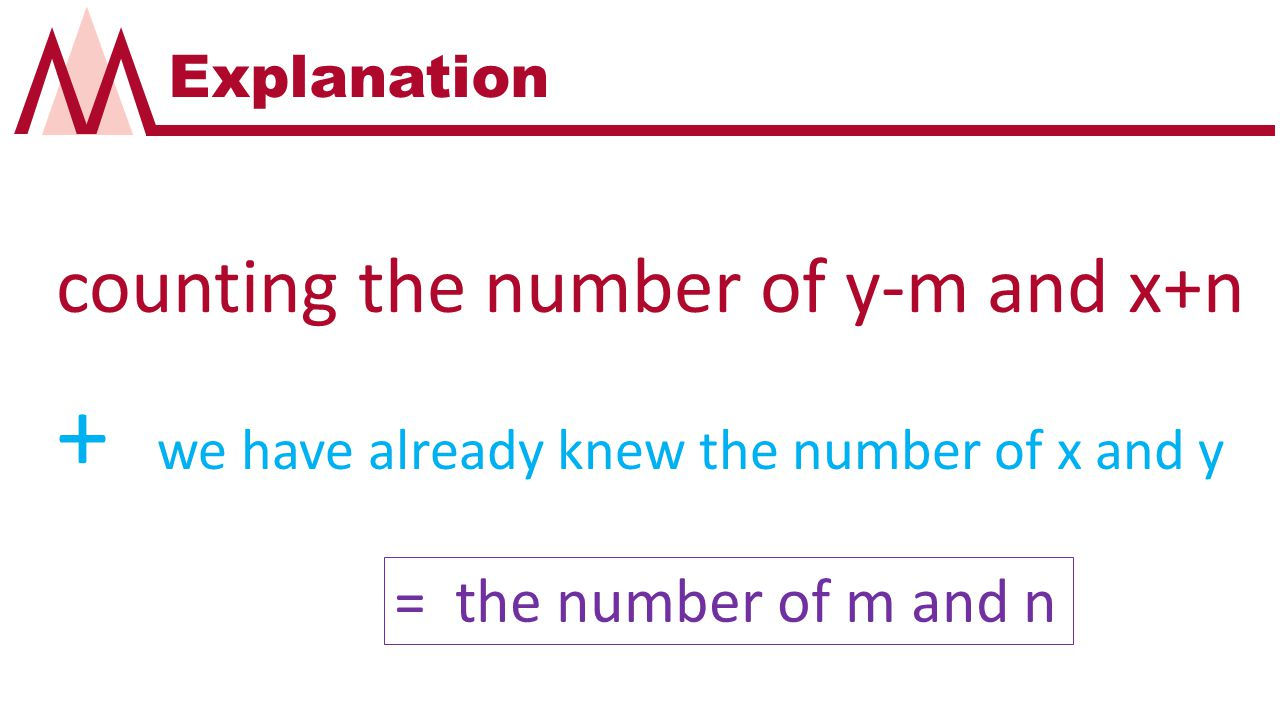 Explanation counting the number of y-m and x+n + we have already knew the number of x and y = the number of m and n