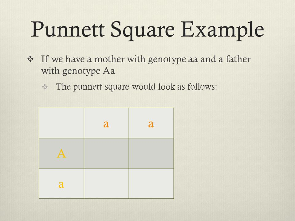 Punnett Square Example  If we have a mother with genotype aa and a father with genotype Aa  The punnett square would look as follows: aa A a