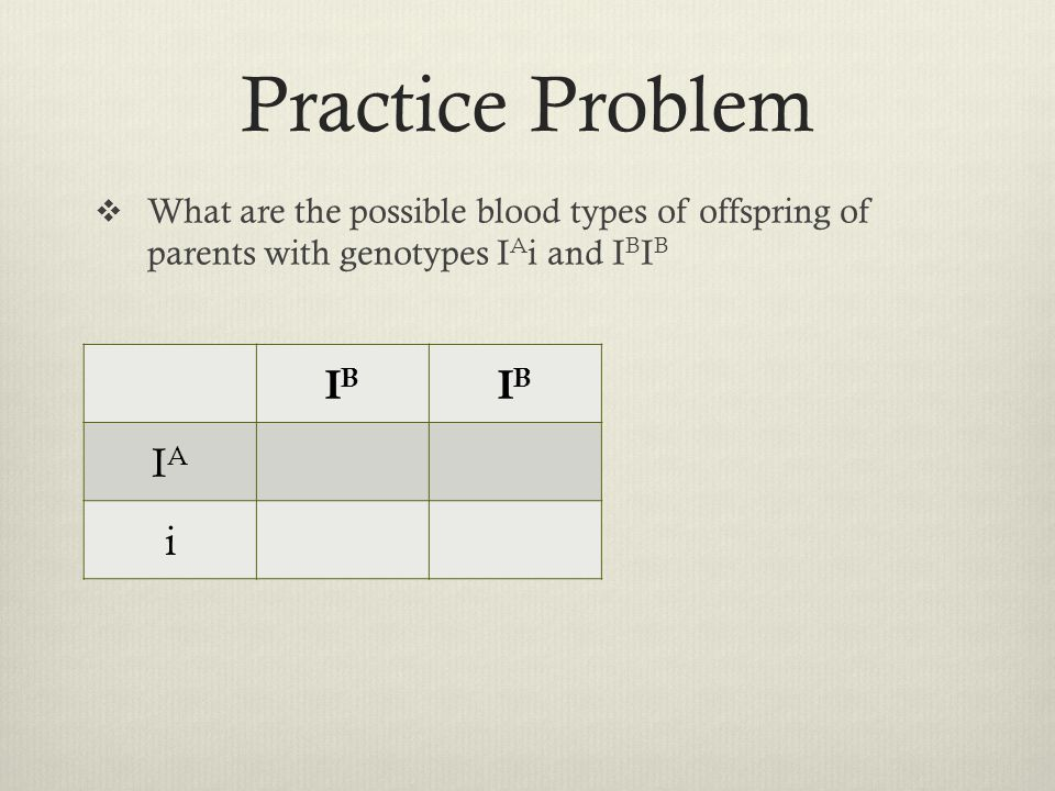 Practice Problem  What are the possible blood types of offspring of parents with genotypes I A i and I B I B IBIB IBIB IAIA i