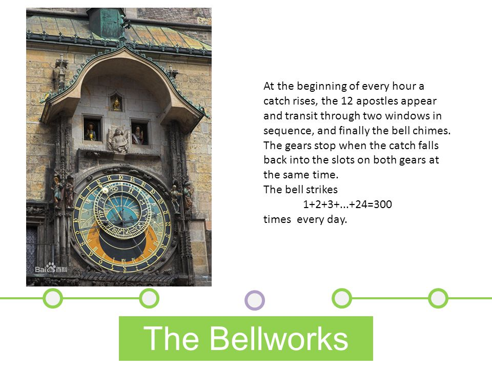 The Bellworks At the beginning of every hour a catch rises, the 12 apostles appear and transit through two windows in sequence, and finally the bell chimes.
