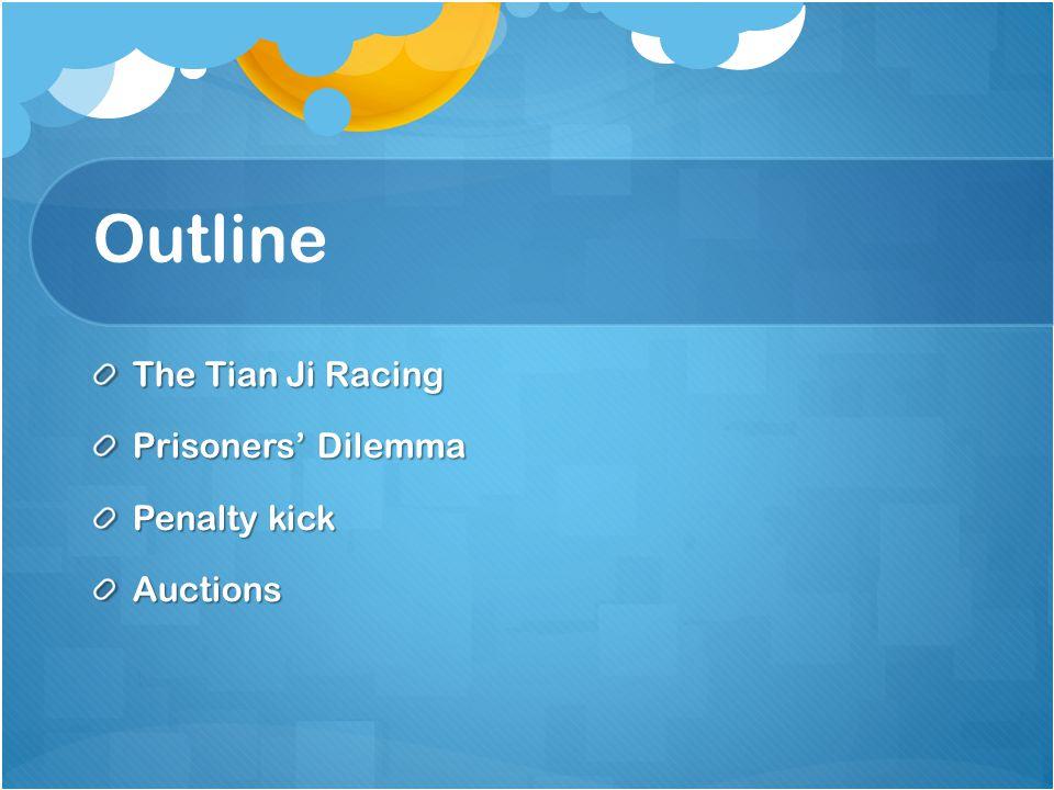 Outline The Tian Ji Racing Prisoners' Dilemma Penalty kick Auctions