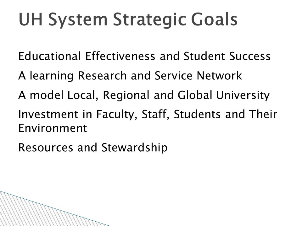 Educational Effectiveness and Student Success A learning Research and Service Network A model Local, Regional and Global University Investment in Faculty, Staff, Students and Their Environment Resources and Stewardship UH System Strategic Goals