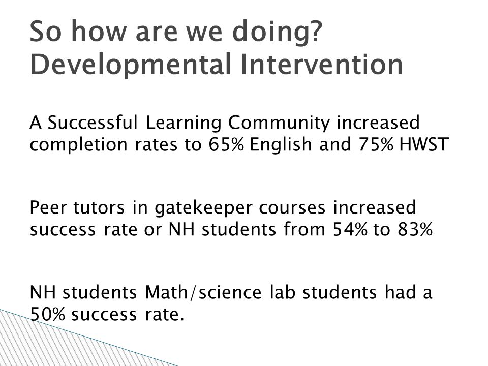 A Successful Learning Community increased completion rates to 65% English and 75% HWST Peer tutors in gatekeeper courses increased success rate or NH students from 54% to 83% NH students Math/science lab students had a 50% success rate.