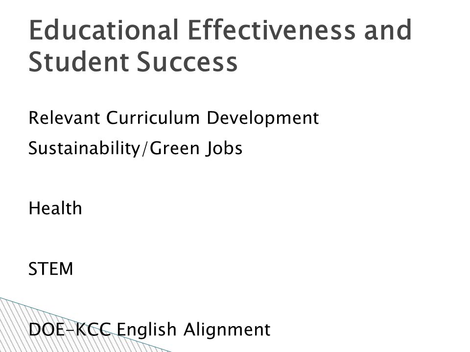 Completion of Course and Program Student Learning Outcomes (SLOs) Course Action Forms (CAFs) Assessment Activities and Analysis Educational Effectiveness and Student Success