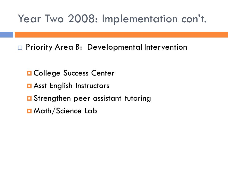 Year Two 2008: Implementation con't.  Priority Area B: Developmental Intervention  College Success Center  Asst English Instructors  Strengthen pe