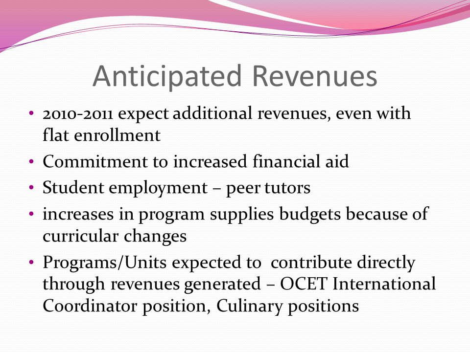 Anticipated Revenues 2010-2011 expect additional revenues, even with flat enrollment Commitment to increased financial aid Student employment – peer tutors increases in program supplies budgets because of curricular changes Programs/Units expected to contribute directly through revenues generated – OCET International Coordinator position, Culinary positions