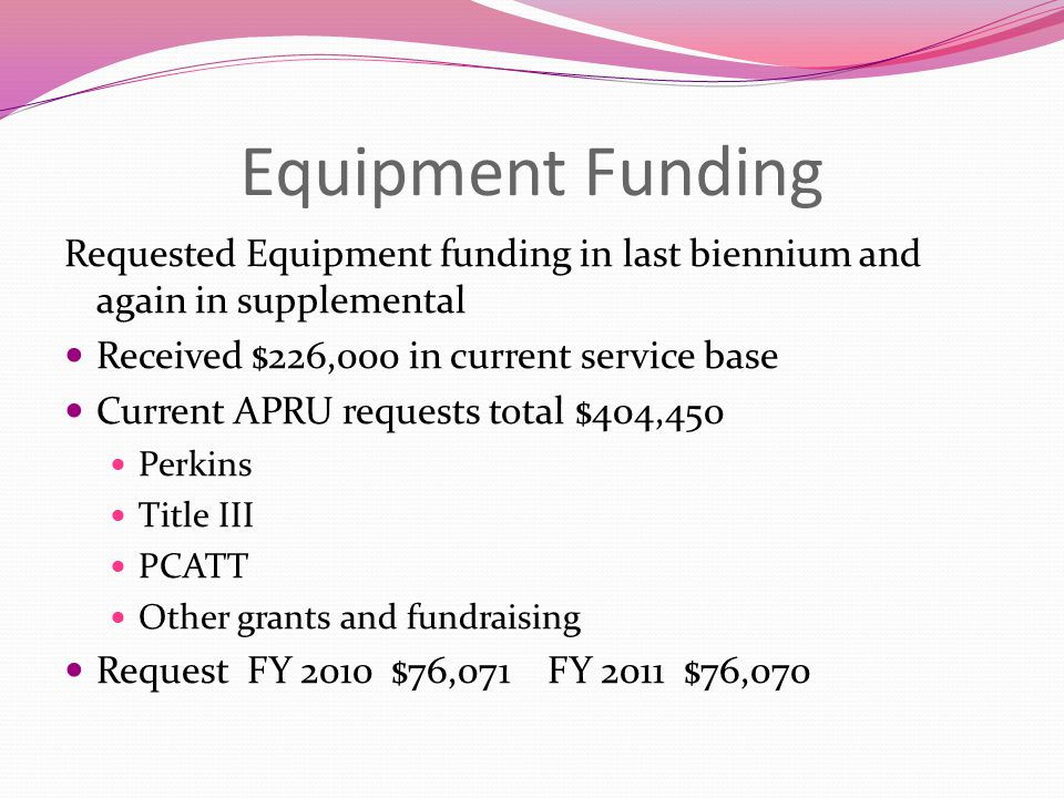 Equipment Funding Requested Equipment funding in last biennium and again in supplemental Received $226,000 in current service base Current APRU requests total $404,450 Perkins Title III PCATT Other grants and fundraising Request FY 2010 $76,071 FY 2011 $76,070