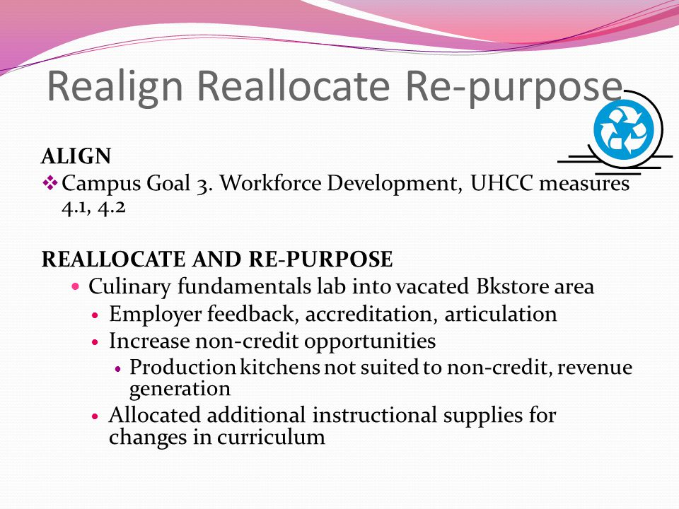 Realign Reallocate Re-purpose ALIGN  Campus Goal 3. Workforce Development, UHCC measures 4.1, 4.2 REALLOCATE AND RE-PURPOSE Culinary fundamentals lab