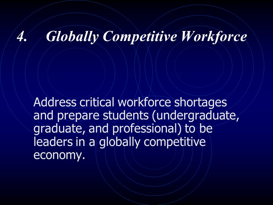 4.Globally Competitive Workforce Address critical workforce shortages and prepare students (undergraduate, graduate, and professional) to be leaders i