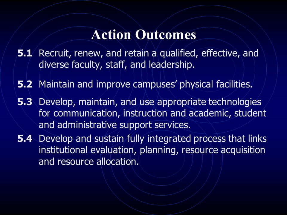 Action Outcomes 5.1 Recruit, renew, and retain a qualified, effective, and diverse faculty, staff, and leadership. 5.2 Maintain and improve campuses'
