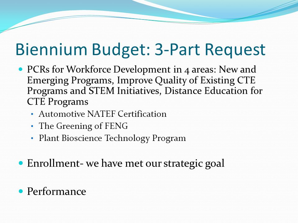 Biennium Budget Request PerformanceWeight Degrees/Certificates35 Native Hawaiian Degrees and Certificates10 STEM Degrees and Certificates5 Pell Recipients10 Transfers40