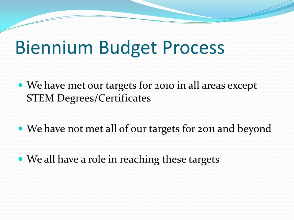 Biennium Budget Process We have met our targets for 2010 in all areas except STEM Degrees/Certificates We have not met all of our targets for 2011 and