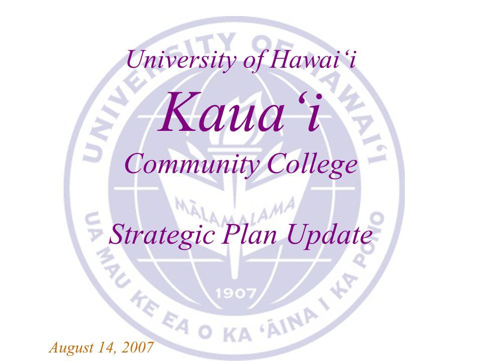 KAUA'I COMMUNITY COLLEGE 2007-2008 STRATEGIC PLAN UPDATE University of Hawai'i Kaua'i Community College Strategic Plan Update August 14, 2007