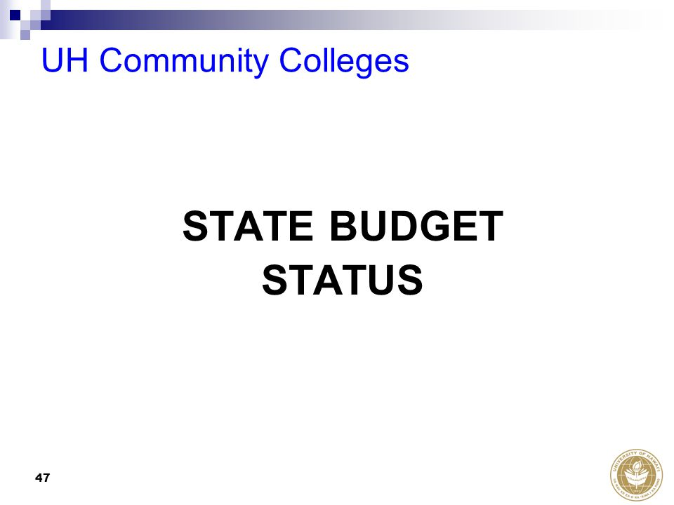 47 STATE BUDGET STATUS UH Community Colleges