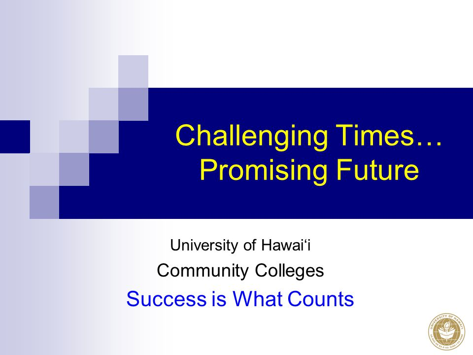Challenging Times… Promising Future University of Hawai'i Community Colleges Success is What Counts