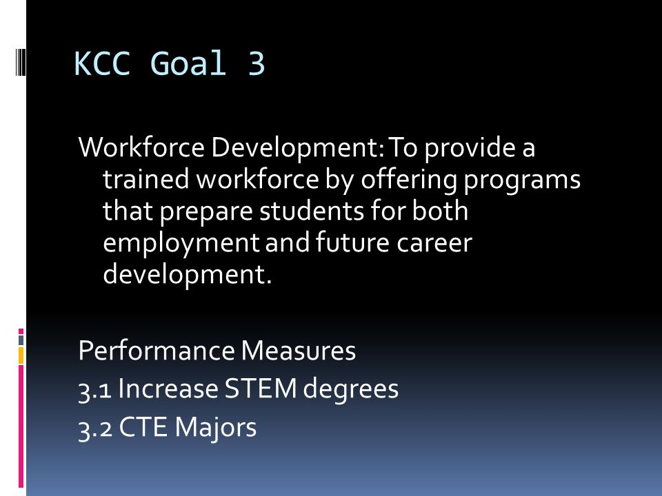 KCC Goal 3 Workforce Development: To provide a trained workforce by offering programs that prepare students for both employment and future career development.