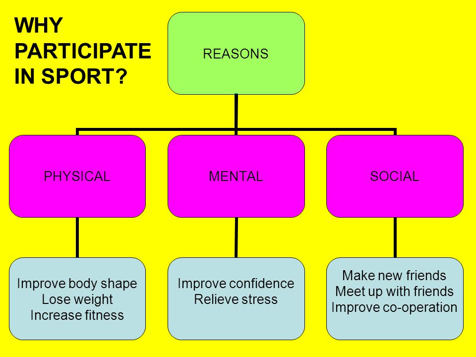REASONS PHYSICAL Improve body shape Lose weight Increase fitness MENTAL Improve confidence Relieve stress SOCIAL Make new friends Meet up with friends Improve co-operation WHY PARTICIPATE IN SPORT