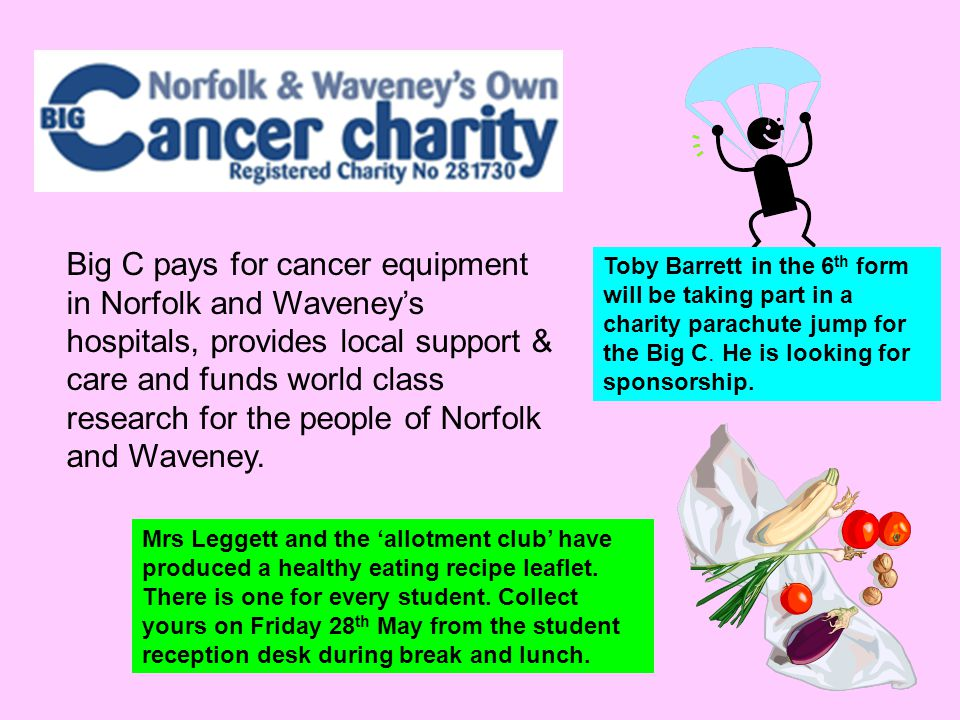 Big C pays for cancer equipment in Norfolk and Waveney's hospitals, provides local support & care and funds world class research for the people of Nor