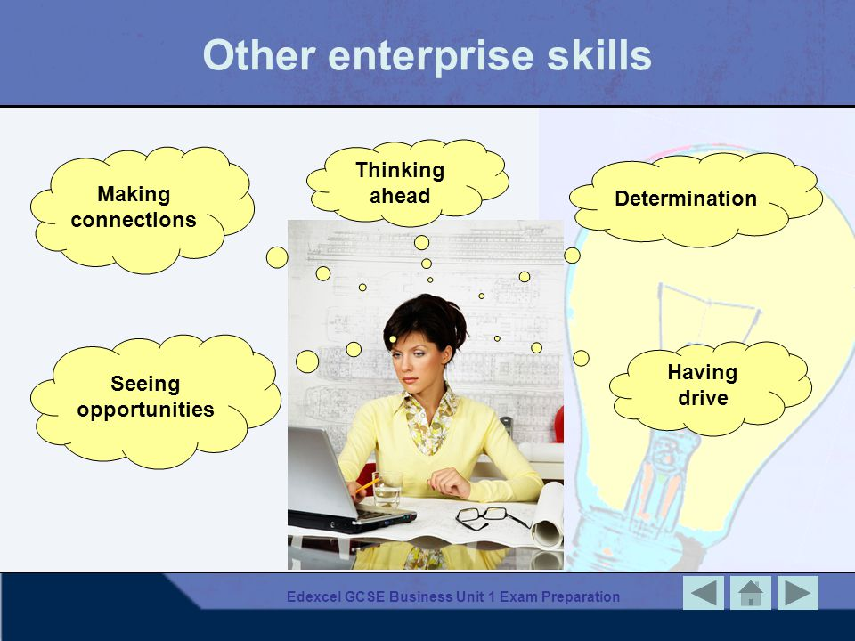 Edexcel GCSE Business Unit 1 Exam Preparation Other enterprise skills Thinking ahead Making connections Determination Seeing opportunities Having driv