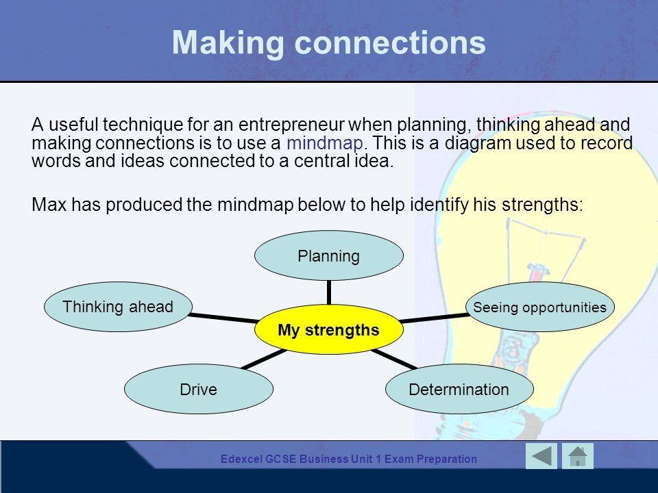 Edexcel GCSE Business Unit 1 Exam Preparation Making connections A useful technique for an entrepreneur when planning, thinking ahead and making conne