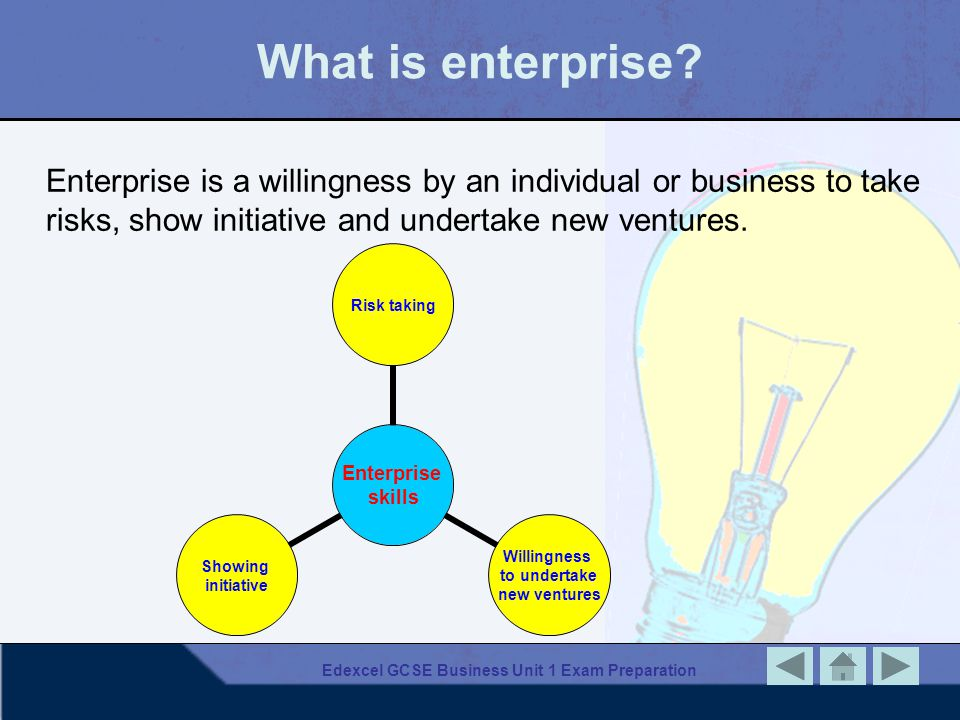 Edexcel GCSE Business Unit 1 Exam Preparation What is enterprise? Enterprise is a willingness by an individual or business to take risks, show initiat