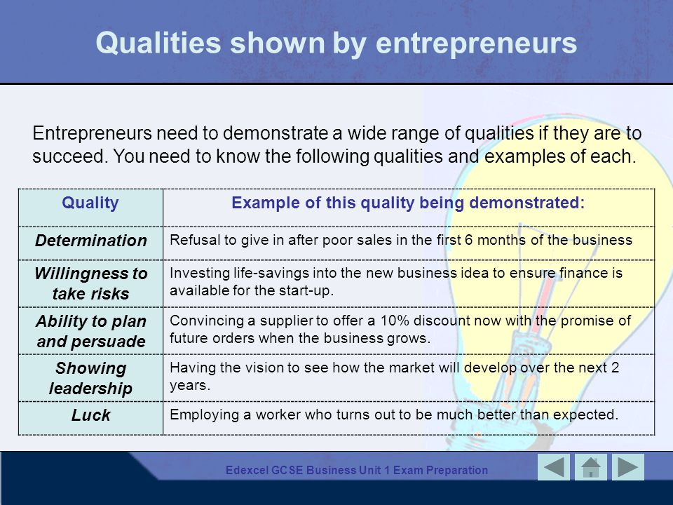 Edexcel GCSE Business Unit 1 Exam Preparation Qualities shown by entrepreneurs QualityExample of this quality being demonstrated: Determination Refusa