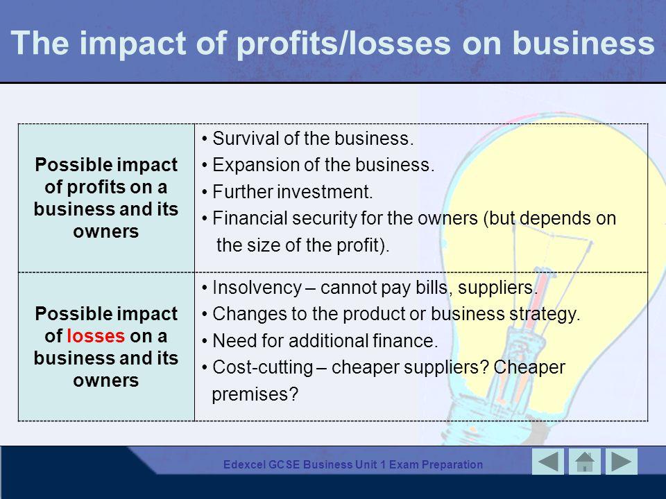 Edexcel GCSE Business Unit 1 Exam Preparation The impact of profits/losses on business Possible impact of profits on a business and its owners Surviva