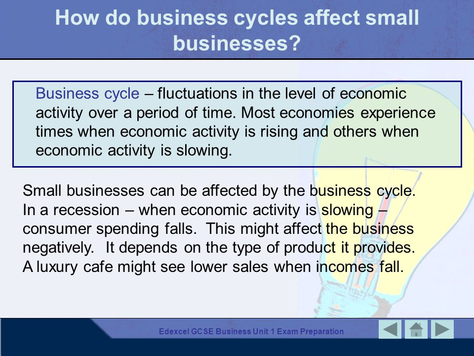 Edexcel GCSE Business Unit 1 Exam Preparation How do business cycles affect small businesses.