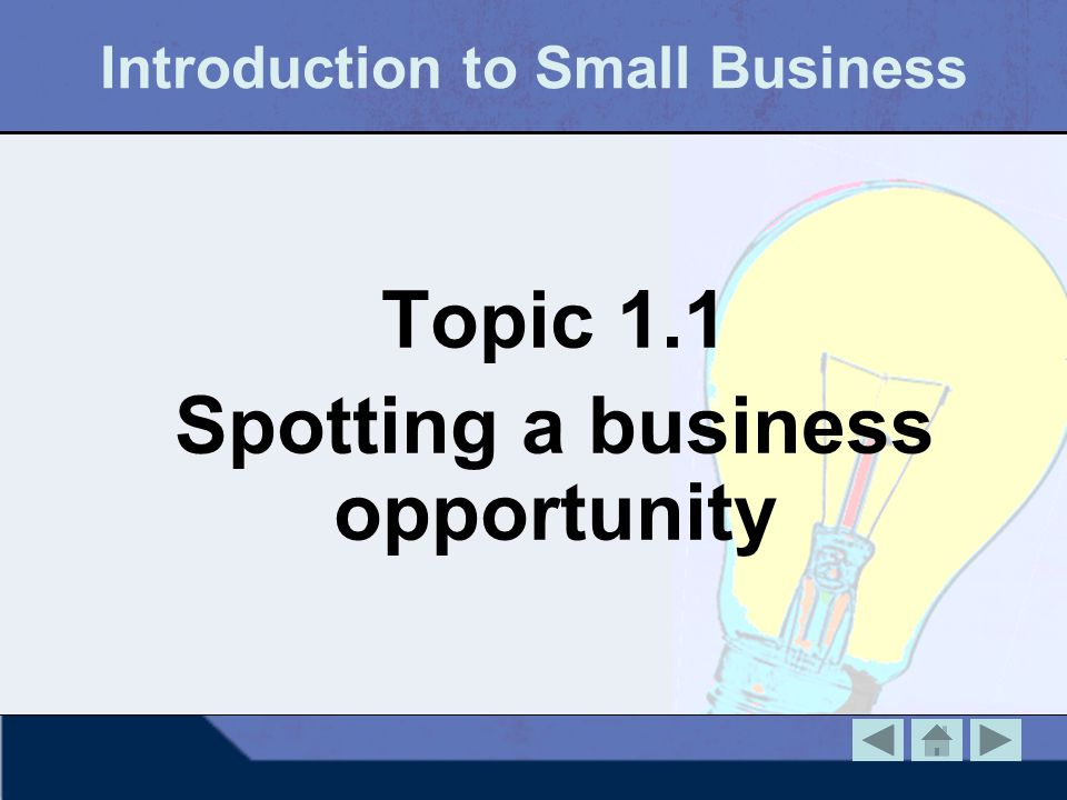 Introduction to Small Business Topic 1.1 Spotting a business opportunity