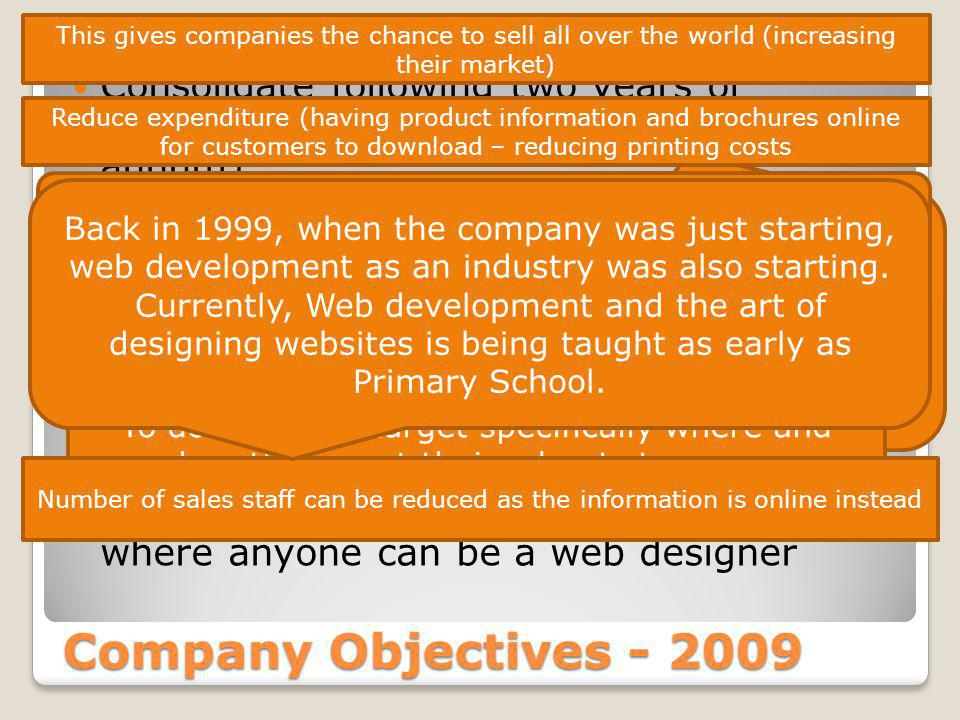 Company Objectives - 2009 Consolidate following two years of sustained growth (15% on turnover per annum) Market all products on-line Increase use of e-commerce in its own website and those it designs for other companies Continue trading in a competitive market where anyone can be a web designer All companies have to grow, however, with this growth comes risk.