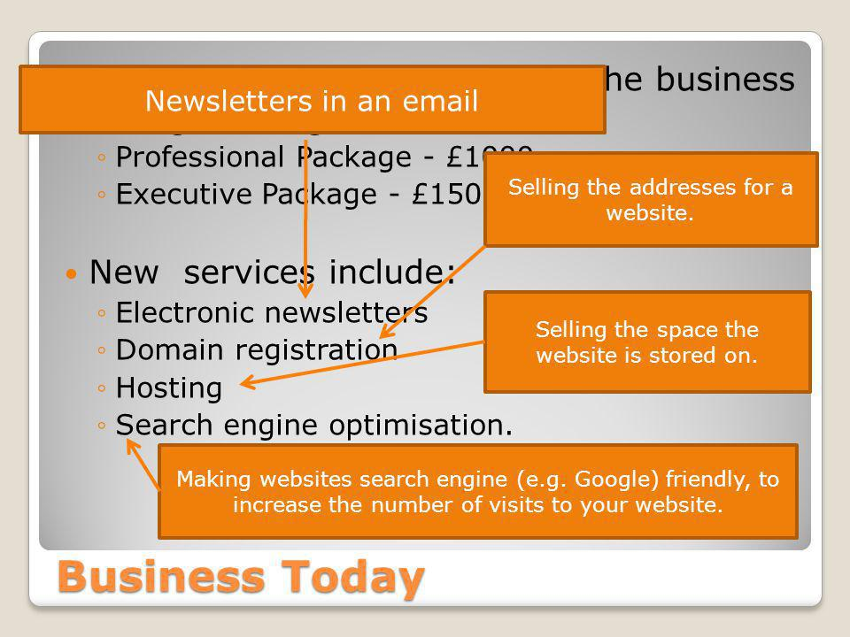 Business Today Web design is still the core of the business ◦Budget Package - £800 ◦Professional Package - £1000 ◦Executive Package - £1500 New services include: ◦Electronic newsletters ◦Domain registration ◦Hosting ◦Search engine optimisation.