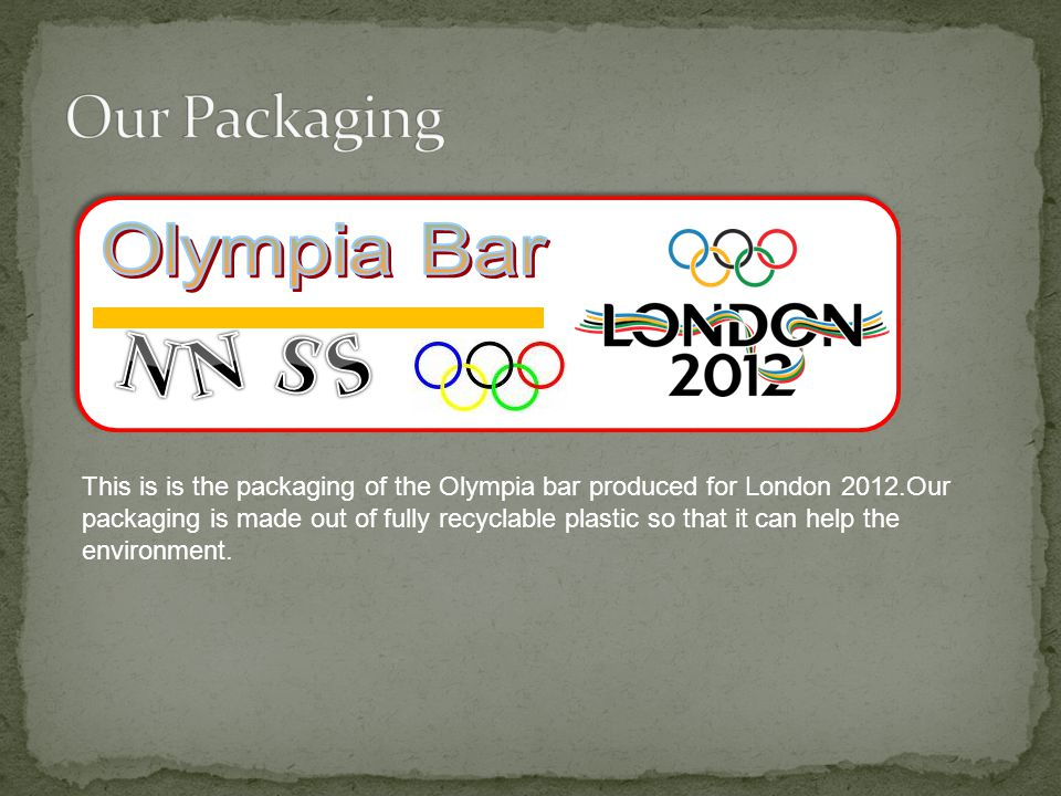 This is is the packaging of the Olympia bar produced for London 2012.Our packaging is made out of fully recyclable plastic so that it can help the environment.