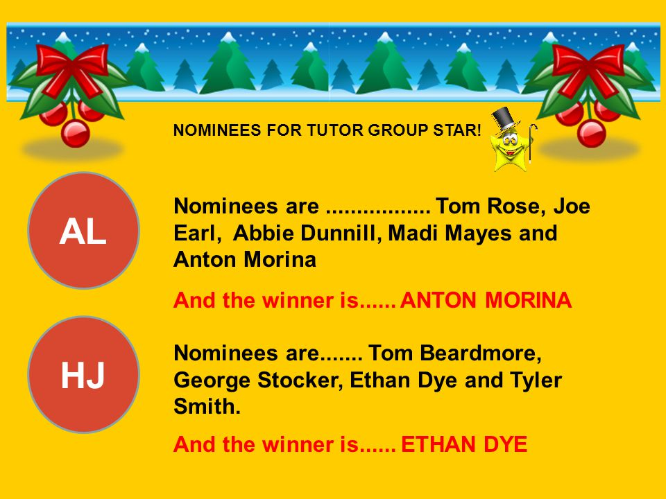 AL HJ Nominees are................. Tom Rose, Joe Earl, Abbie Dunnill, Madi Mayes and Anton Morina And the winner is...... ANTON MORINA Nominees are..