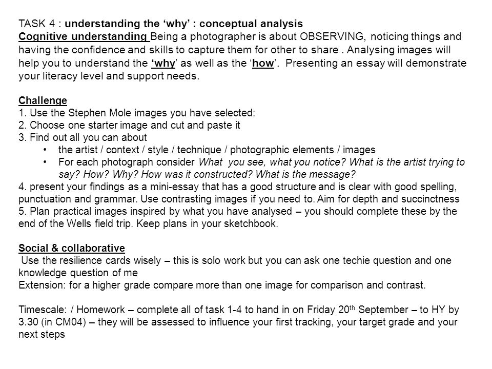TASK 4 : understanding the 'why' : conceptual analysis Cognitive understanding Being a photographer is about OBSERVING, noticing things and having the
