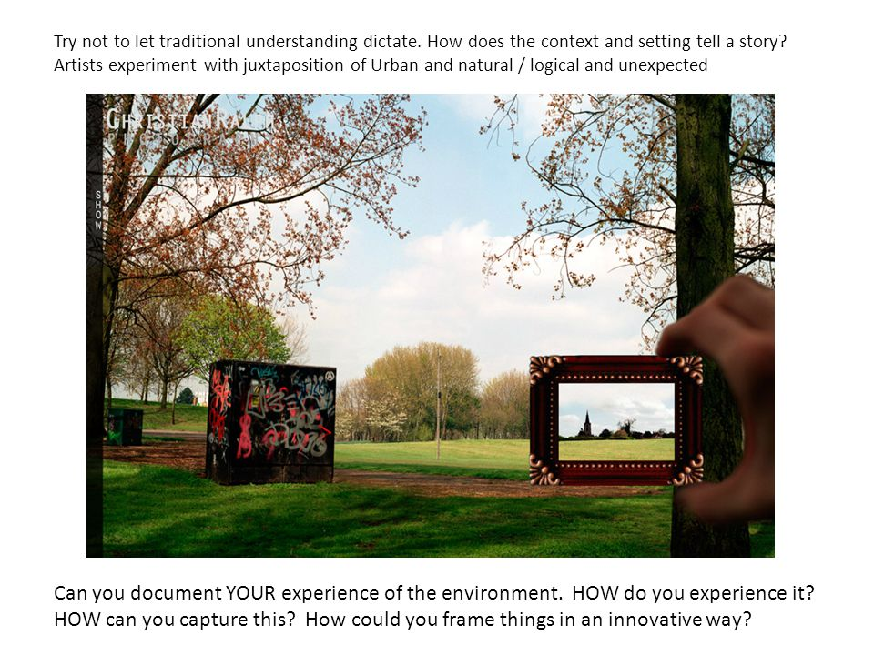 Can you document YOUR experience of the environment. HOW do you experience it? HOW can you capture this? How could you frame things in an innovative w