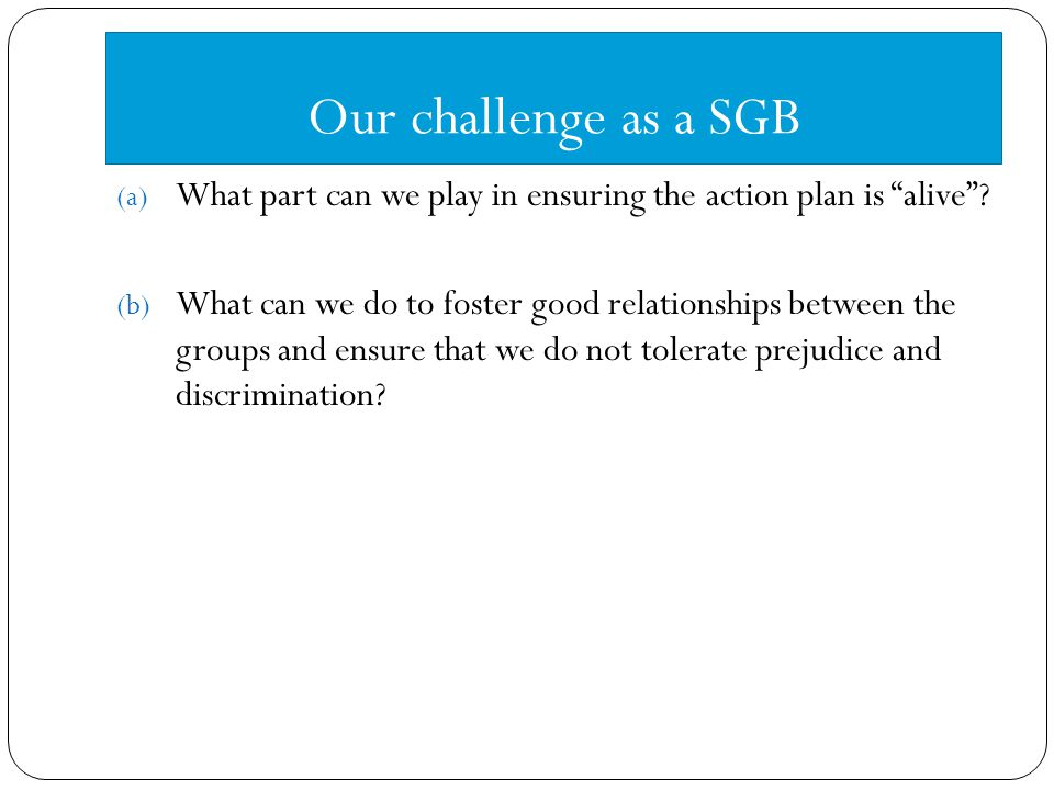 Our challenge as a SGB (a) What part can we play in ensuring the action plan is alive .