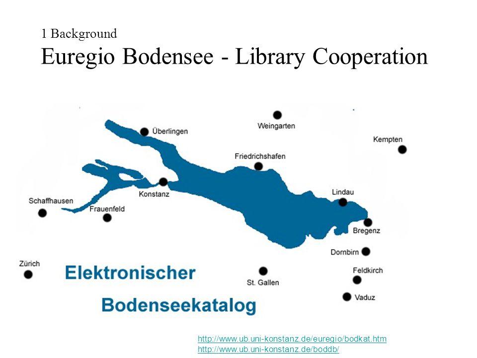 1 Background Euregio Bodensee - Library Cooperation http://www.ub.uni-konstanz.de/euregio/bodkat.htm http://www.ub.uni-konstanz.de/boddb/