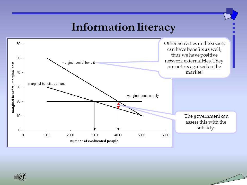 Information literacy Other activities in the society can have benefits as well, thus we have positive network externalities.
