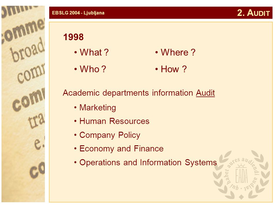 EBSLG 2004 - Ljubljana 1998 Marketing Human Resources Company Policy Economy and Finance Operations and Information Systems Academic departments information Audit 2.